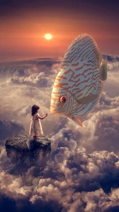 Fantasy Wallpapers Fantasy Girl Fish Clouds Sky iphone 8 wallpaper ilikewallpaper com ...