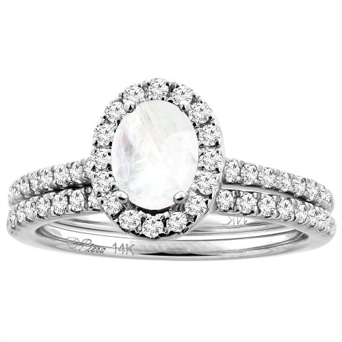home moonstone wedding ring sets 14K White Yellow Gold Diamond Halo Natural Rainbow Moonstone 2pc Engagement Ring Set Oval