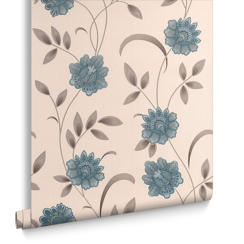 Sadie Teal and Cream Wallpaper | Graham & Brown