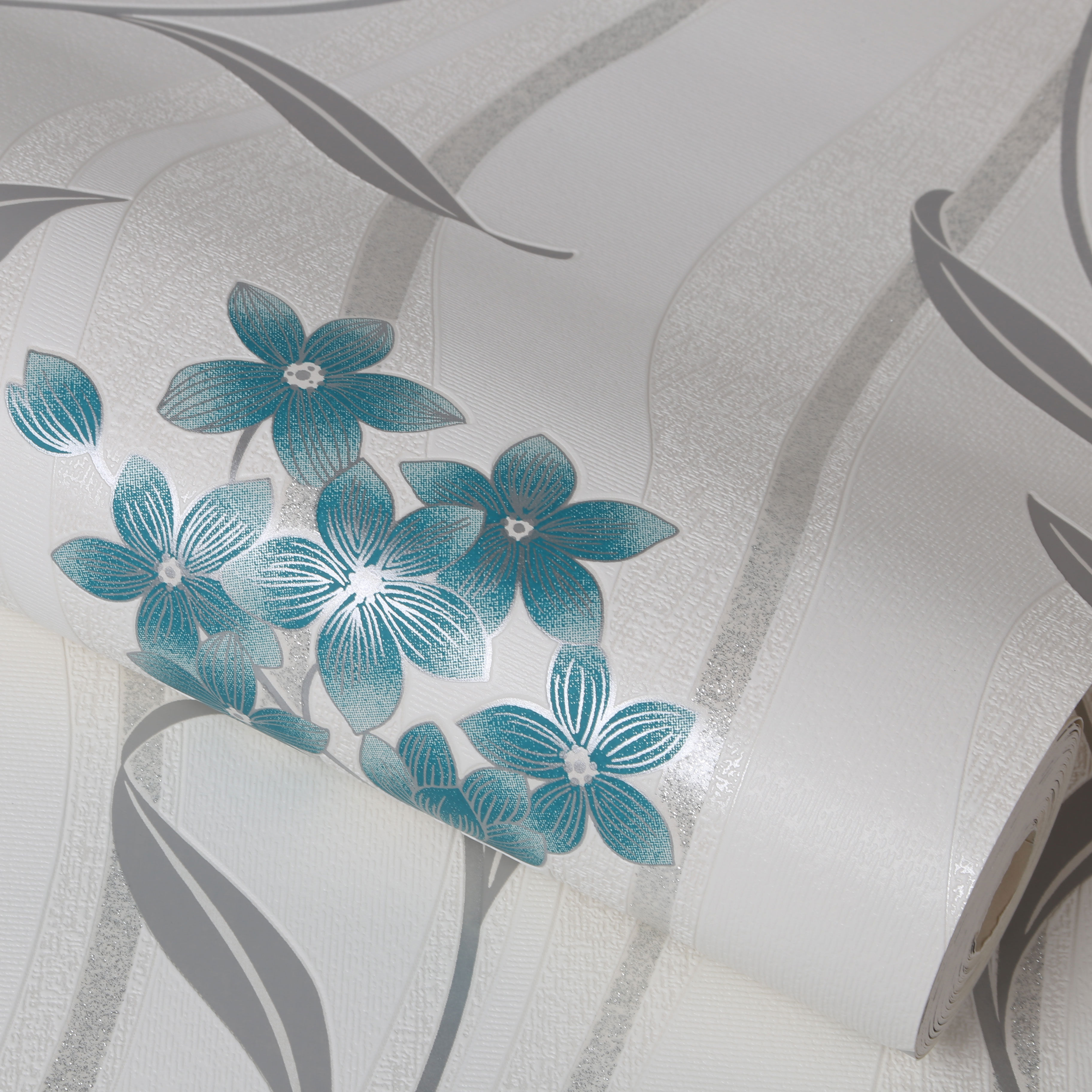 Elise Teal and Silver Wallpaper   Graham & Brown