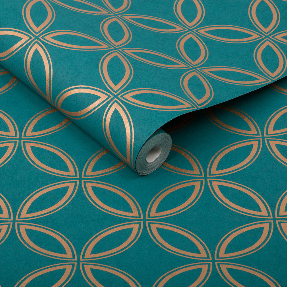 Eternity Teal and Gold Wallpaper - GrahamBrownUK