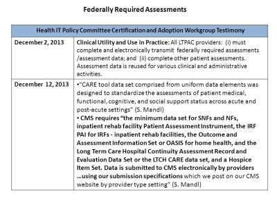 Comparison of ONC & LTPAC EHR Functional Criteria AND Testimony to HITPC C/A Workgroup (Summary ...