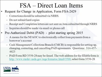 USDA Rural Development National Financial and Accounting ...