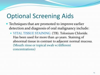 Oral Cancer Screening People's lives can be saved through early detection of oral, head and neck ...