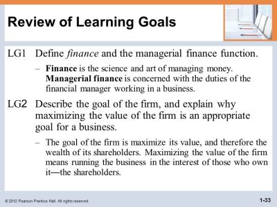 Learning Goals LG1 Define finance and the managerial finance function. - ppt download