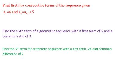Review for the Test Find both an explicit formula and a recursive formula for the nth term of ...