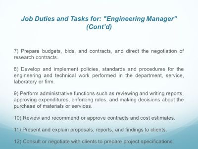Function and responsibilities of Engineer manager. - ppt video online download