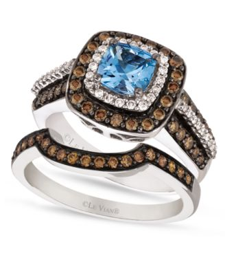 le vian chocolate white diamond aquamarine stackable rings in 14k white gold ID aquamarine wedding rings Le Vian Chocolate White Diamond and Aquamarine Stackable Rings in 14k White Gold Rings Jewelry Watches Macy s