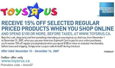 Toys R Us Canada: 15% off $100 with American Express | Canadian Freebies, Coupons, Deals ...