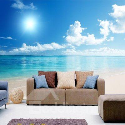 Blue Sky and Sea Scenery Pattern PVC Waterproof and Durable 3D Wall Murals - beddinginn.com
