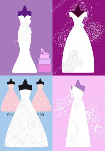 Wedding dresses, bridal gowns, vector — Stock Vector ...