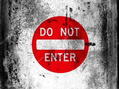 Do not enter road sign painted on board with grungy dirty ...