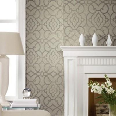 York Wallcoverings | Candice Olson Shimmering Details Grillwork Mica Wallpaper - Modern - Wallpaper