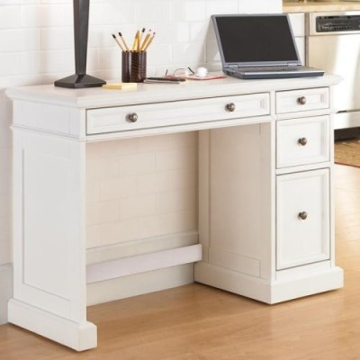 Home Styles Traditions White Utility Desk with Wood Top ...