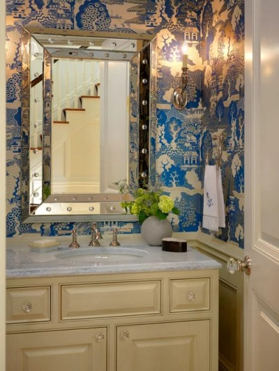 Wainscoting With Wallpaper Above | Houzz