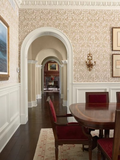 Wainscoting With Wallpaper Above Home Design Ideas, Pictures, Remodel and Decor