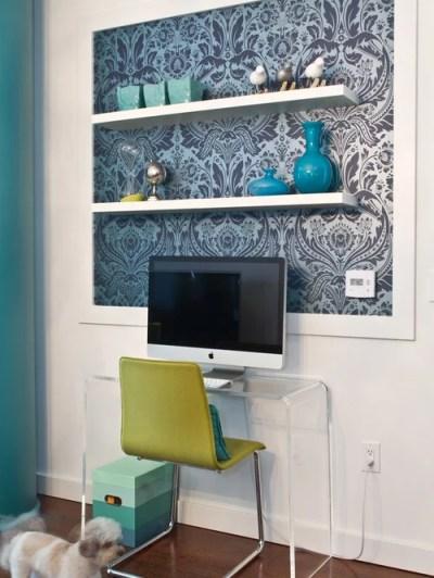 Wallpaper On Shelves | Houzz