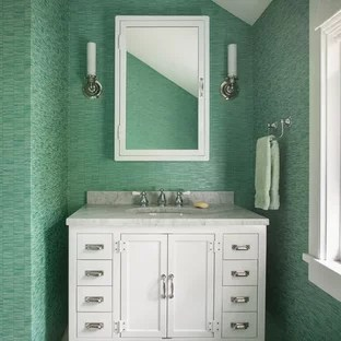75 Popular Powder Room Design Ideas   Stylish Powder Room Remodeling     Coastal gray floor powder room photo in Portland Maine with furniture like  cabinets  white