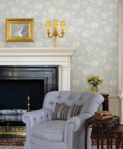 Blue Wallpaper - Traditional - Living Room - other metro - by Brewster Home Fashions