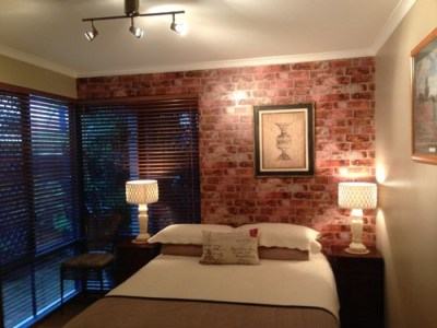 Faux Brick Wallpaper In Bedroom and Living Room