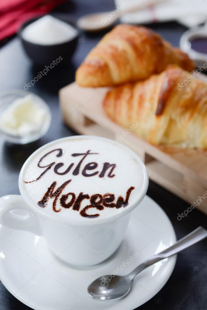 Breakfast cappuccino design   guten morgen     Stock Photo      info     Breakfast cappuccino design   guten morgen     Stock Photo