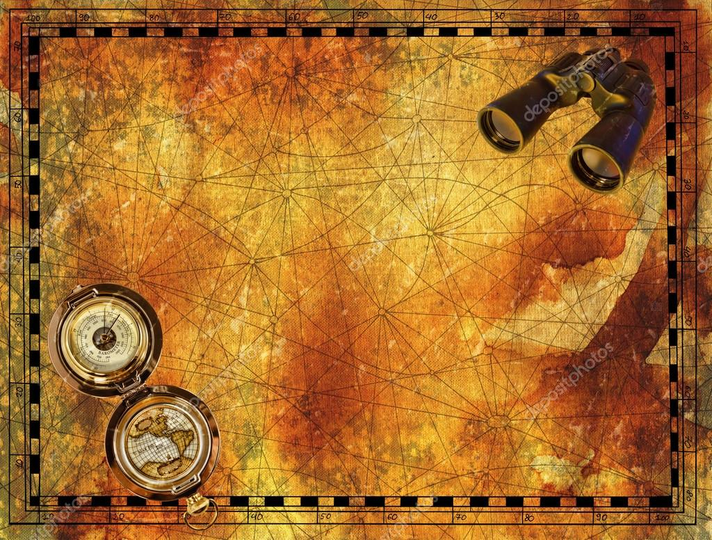 Ancient border for pirate map     Stock Photo      Samiramay  127412880 Ancient border for pirate map with binocular and compass on grunge paper  texture background  Hand drawn illustration with treasure hunt  vintage  adventures