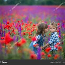 Two Cute Little Kids Kissing Posing Field Color Flowers Stock