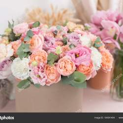 Beautiful Luxury Bouquet of Mixed Flowers in Kraft Box the Work Of