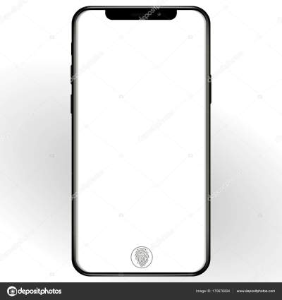 Phone, mobile, smartphone mockup isolated on white background with blank screen. front view ...