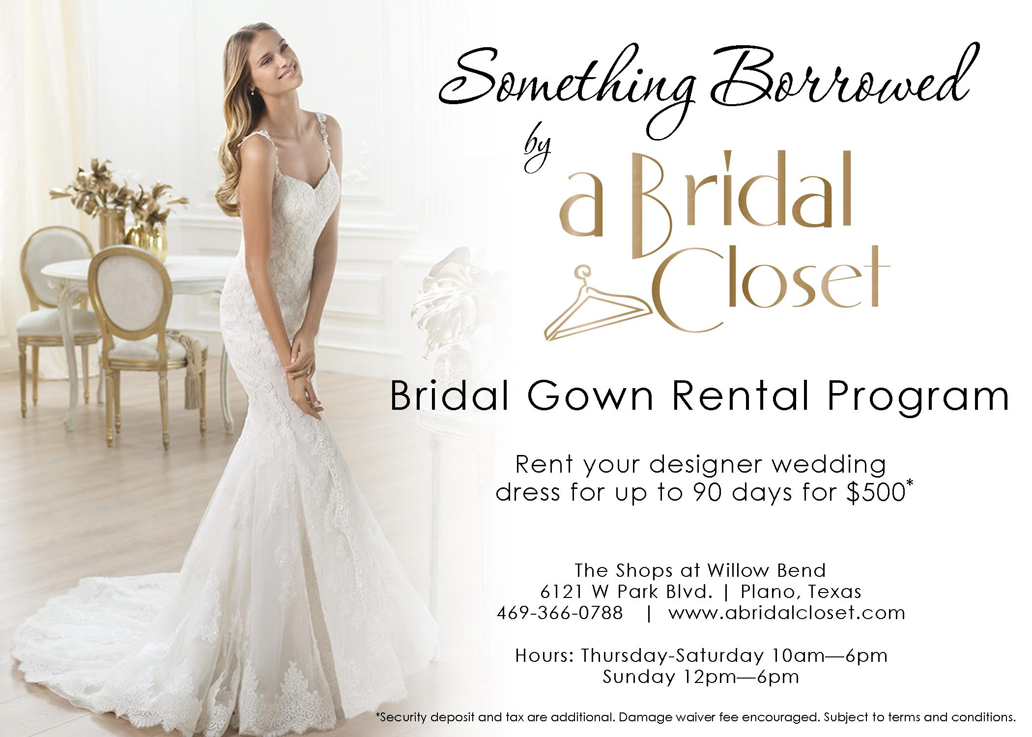 bridal closet rental wedding dresses CLICK HERE TO LEARN MORE ABOUT OUR BRIDAL GOWN RENTAL PROGRAM