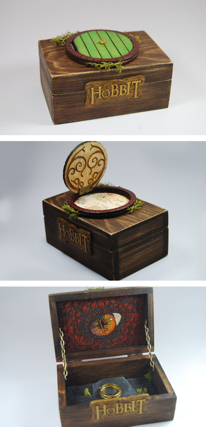 geeky engagement rings boxes proposal ideas gamer wedding rings 5 The Hobbit Ring Box