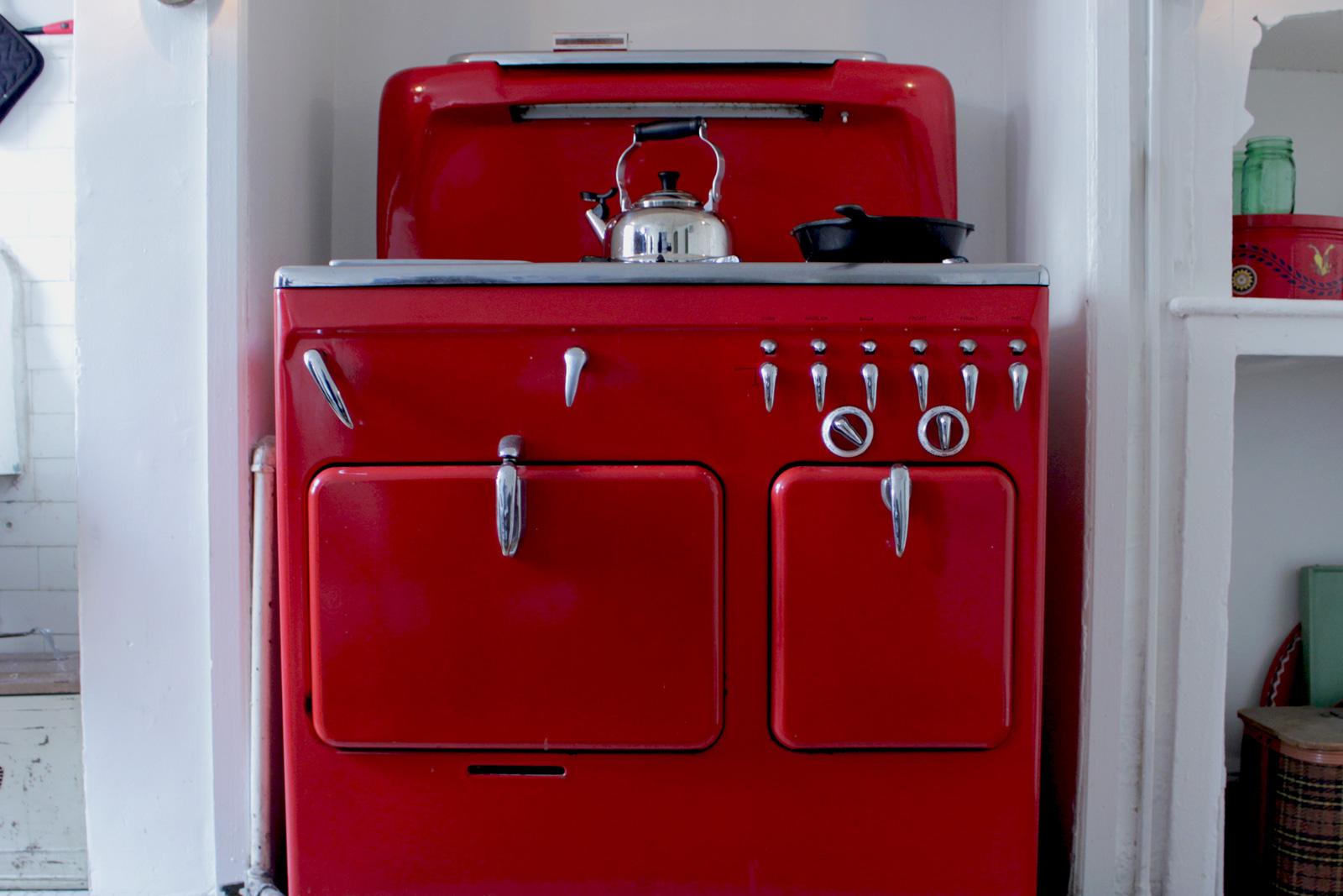 smart options kitchen flooring kitchen floors Red vintage stove in a home kitchen