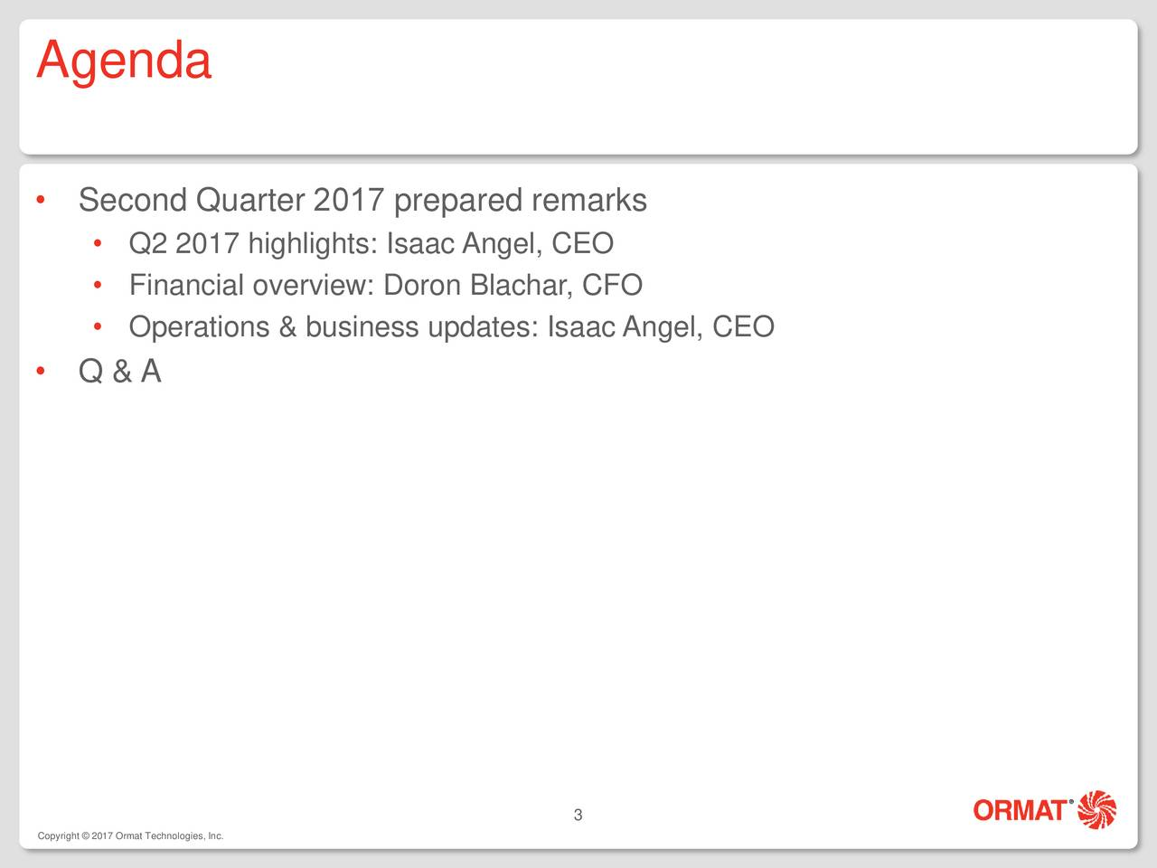Ormat Technologies, Inc. 2017 Q2 - Results - Earnings Call Slides - Ormat Technologies, Inc ...