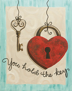You Hold the Key Love padlocks are an age old way to show your devotion to someone  Create  the same sentiment with this lock and key painting  Add your names to the  heart