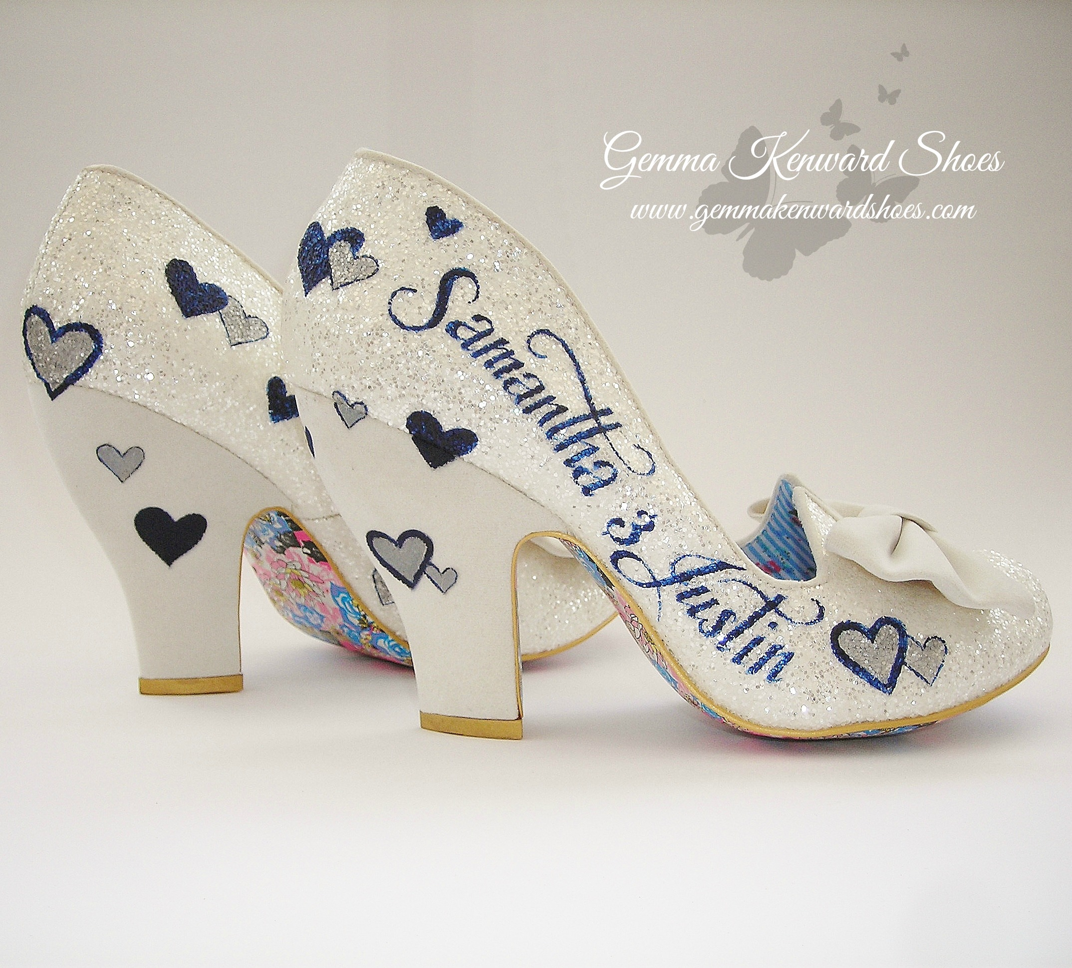 gemmakenwardshoes silver shoes for wedding Irregular Choice Silver and Navy personalised wedding shoes