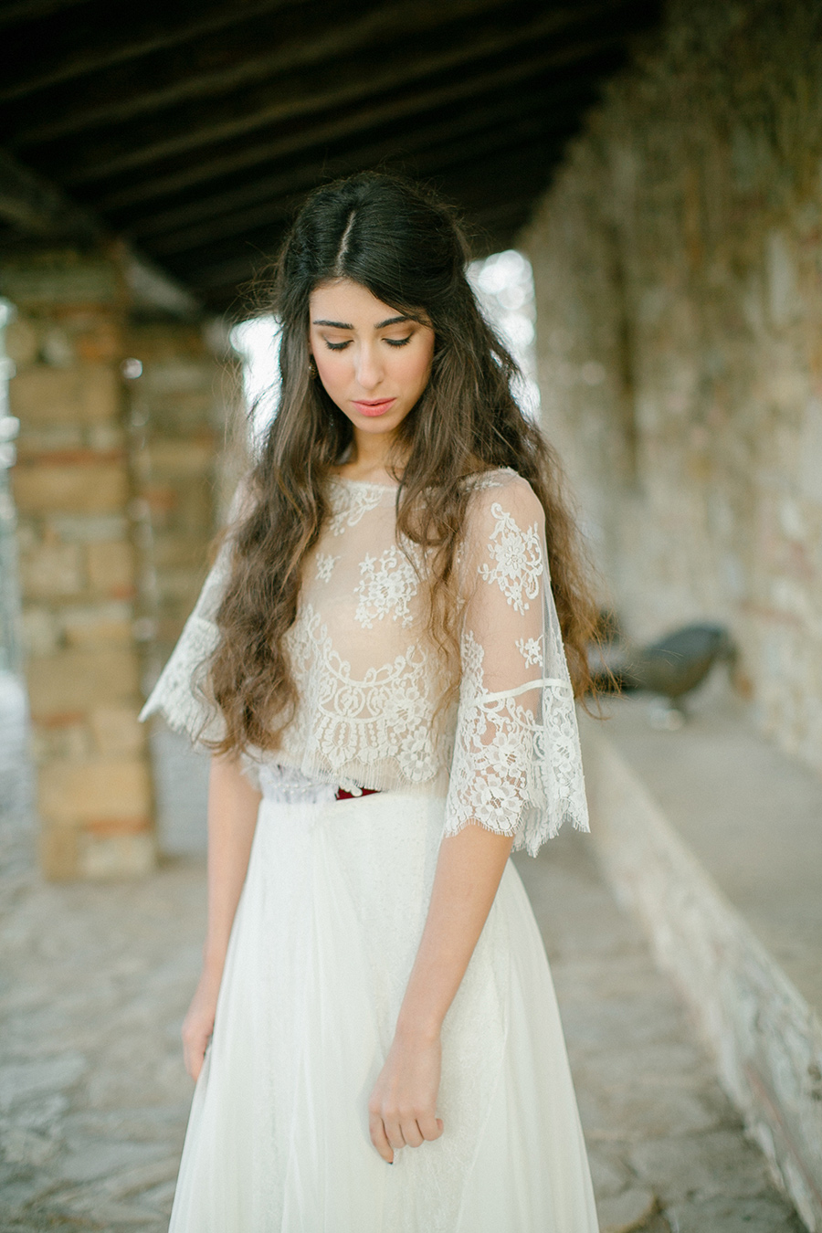 boho chic inspired wedding styled shoot in ancient greece greek wedding dresses Greece Inspired Wedding Dress with French Chantilly lace styled shoot coordinated by Love 4 Wed