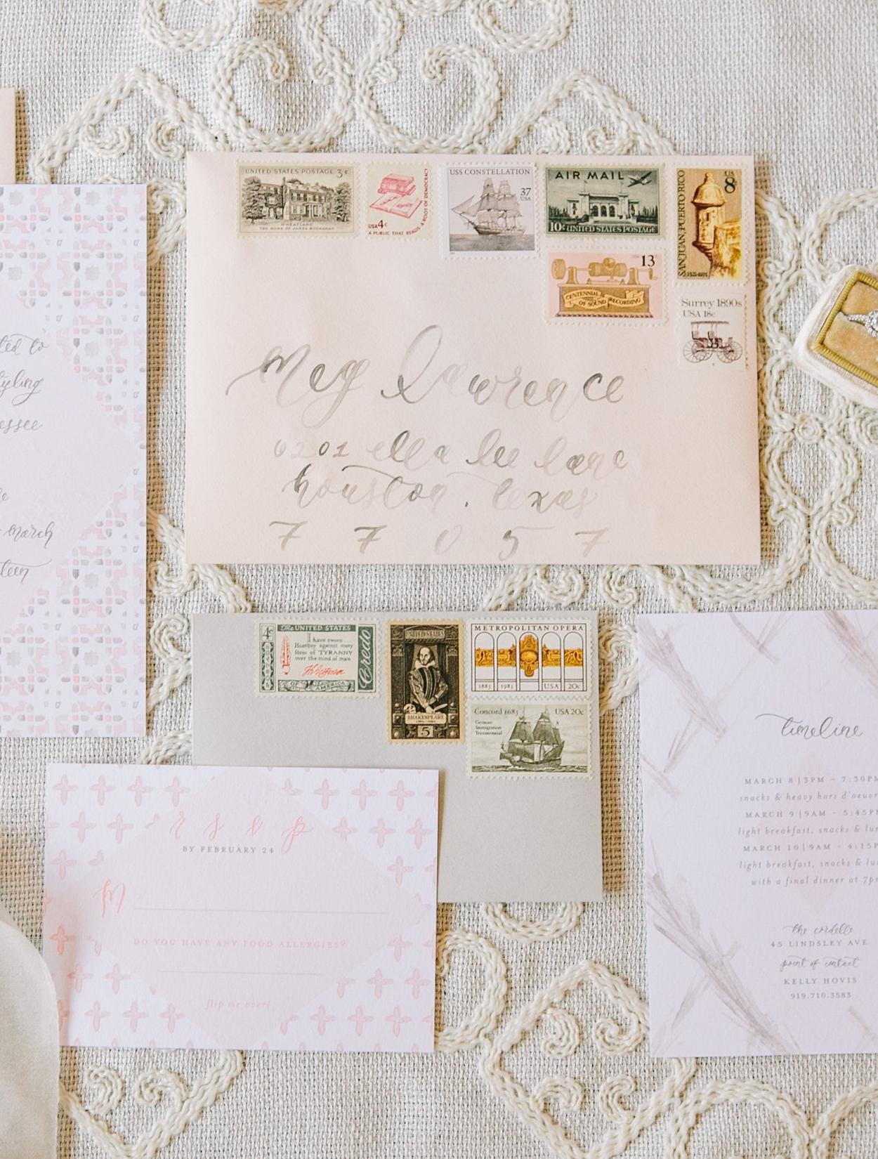 comparing wedding postage options standard usps postage custom postage and vintage postage stamps wedding invitation stamps Vintage Postage Stamps from Verde Studio Comparing Wedding Postage Options Standard USPS Postage