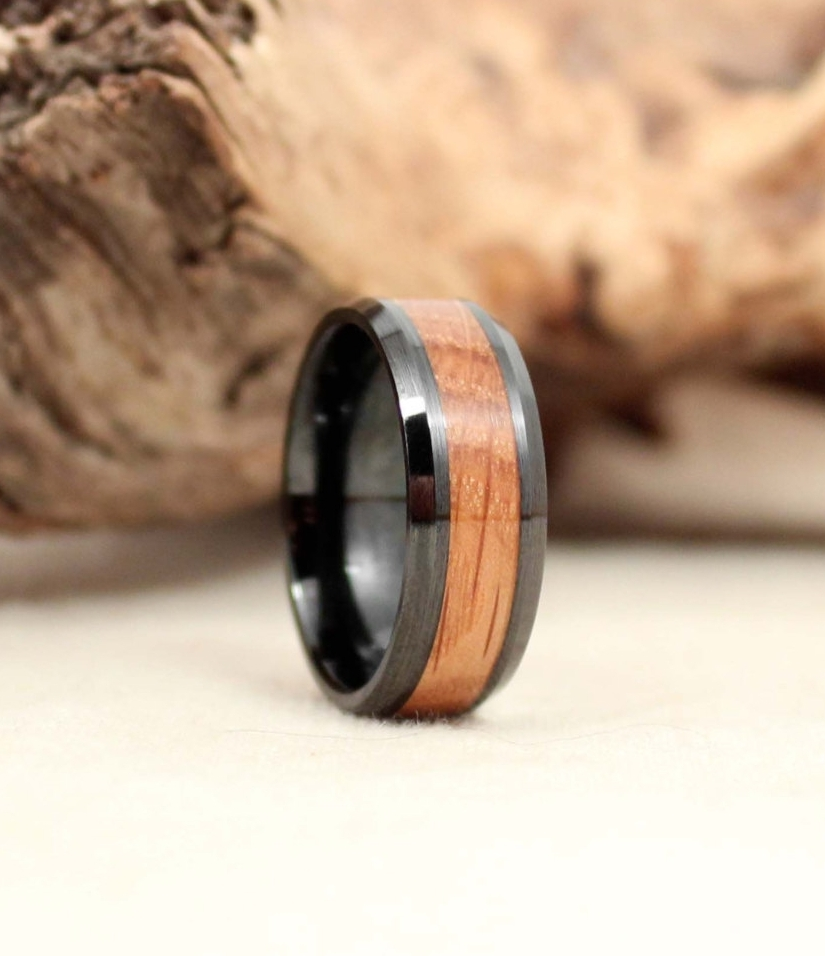 the original whiskey barrel wedding ring non conductive wedding ring Whiskey barrel oak flanked by practically unscratchable and non conductive black ceramic