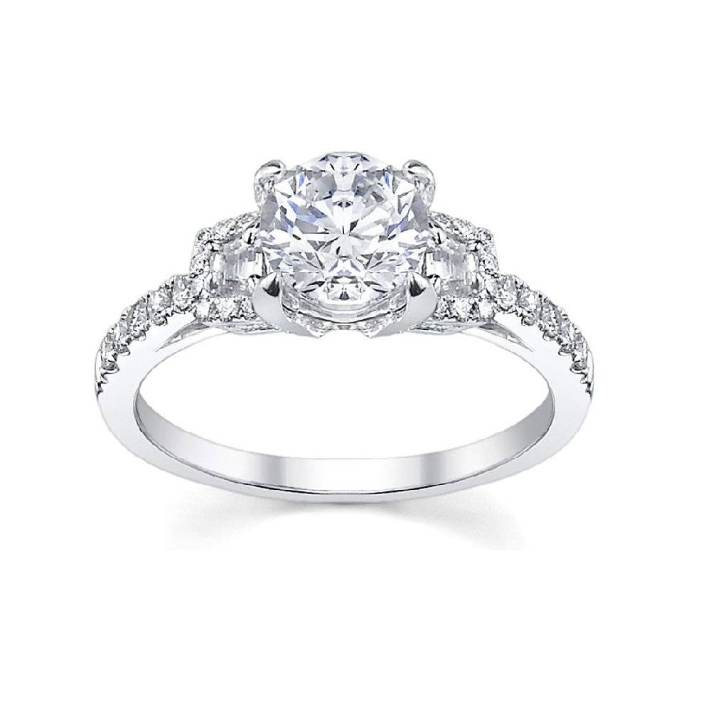 engagement elegant wedding rings Three stone trilogy engagement ring with round brilliant solitaire center