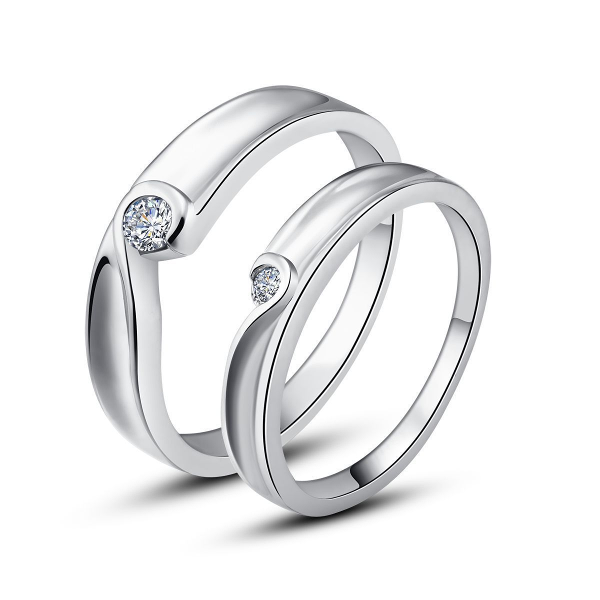 wedding matching wedding bands MATCHING WEDDING BANDs WITH BEZEL SET ROUND SOLITAIRE DIAMOND