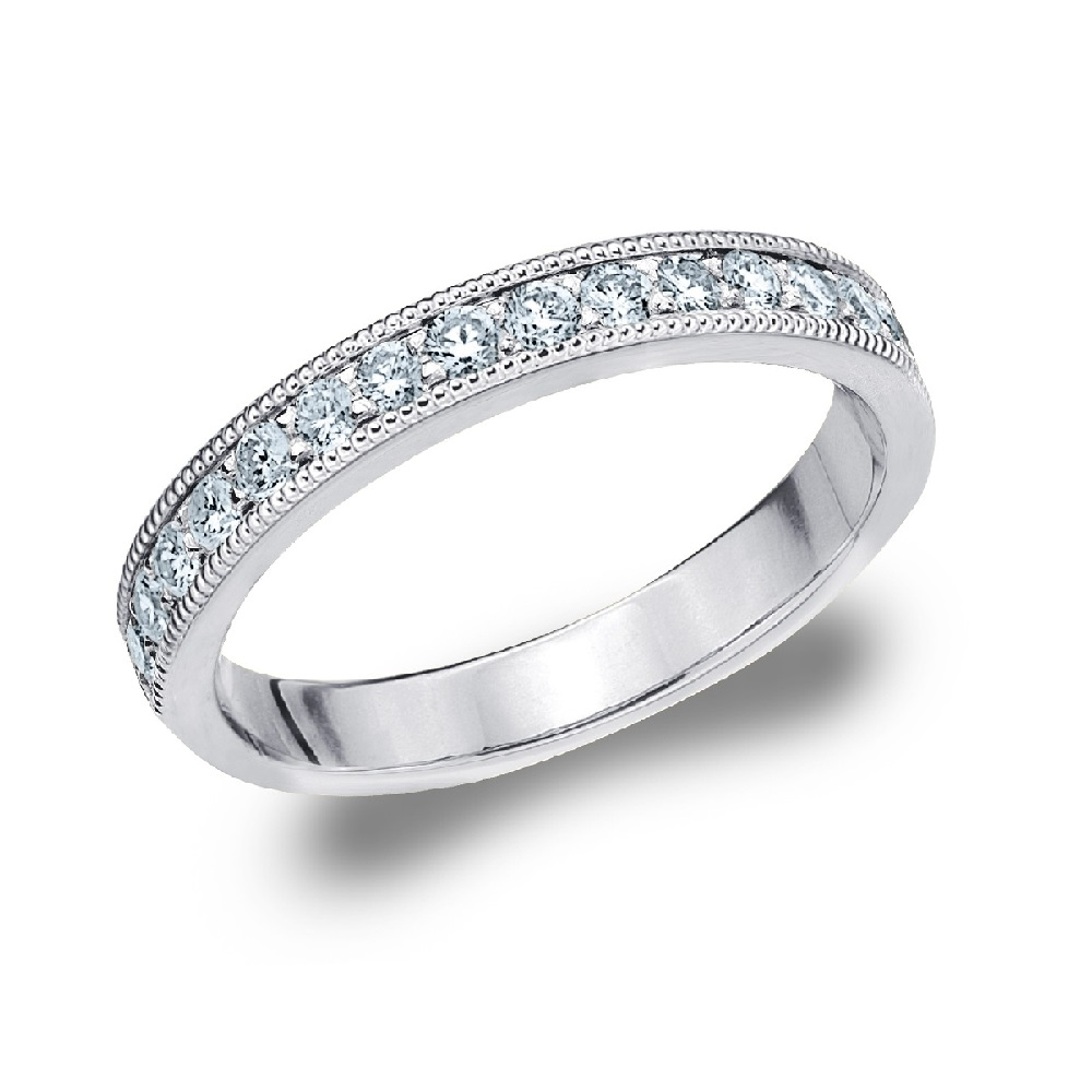 wedding milgrain wedding band LADIES shared prong DIAMOND WEDDING BAND with milgrain trim edges