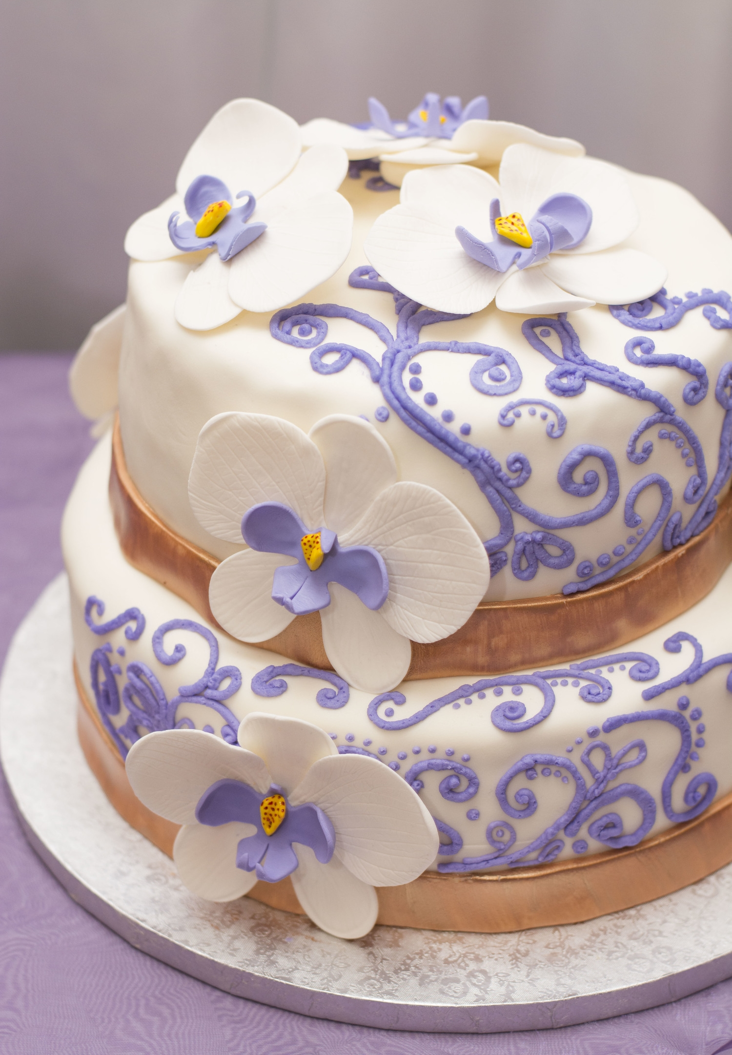 purple gold wedding cake purple and gold wedding Celine adam