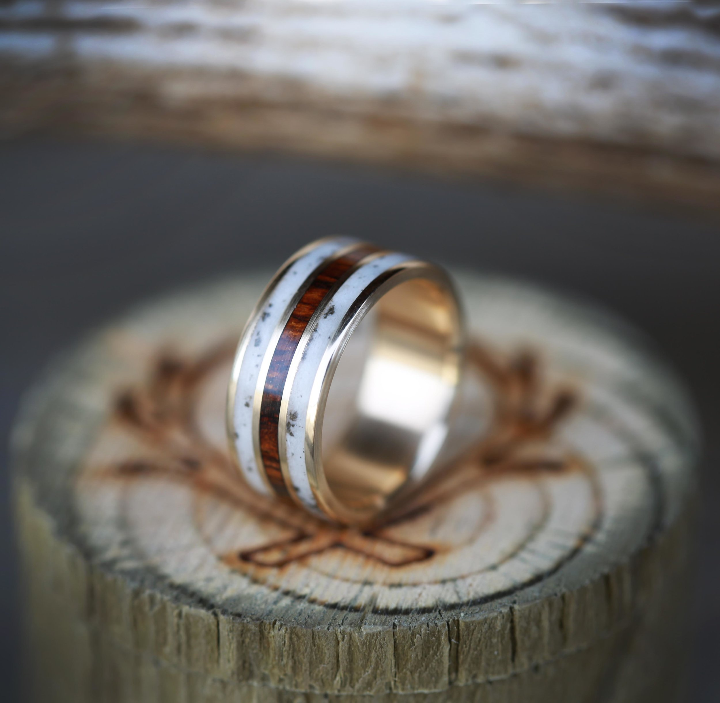 products antler wedding band Ironwood elk antler wedding band with inlays of ironwood elk antler custom made