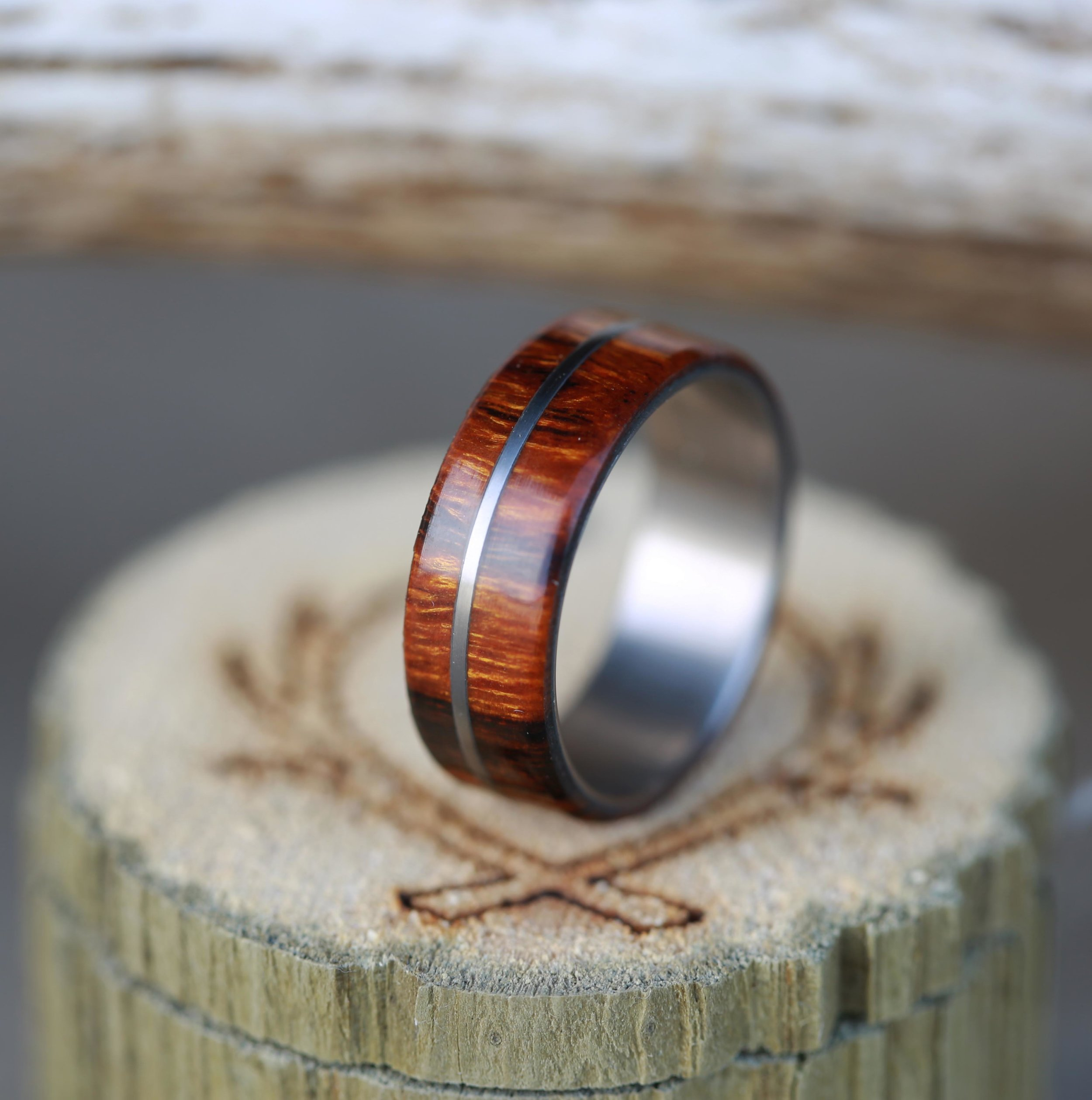 mens wood wedding band with metal inlay antler wedding band MEN S WOOD WEDDING BAND WITH METAL INLAY available in titanium silver or gold STAGHEAD DESIGNS
