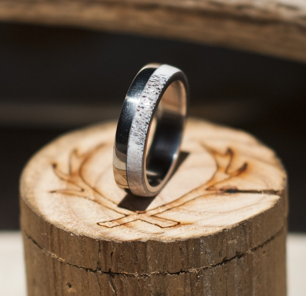 products antler wedding band Wedding band made from elk antler