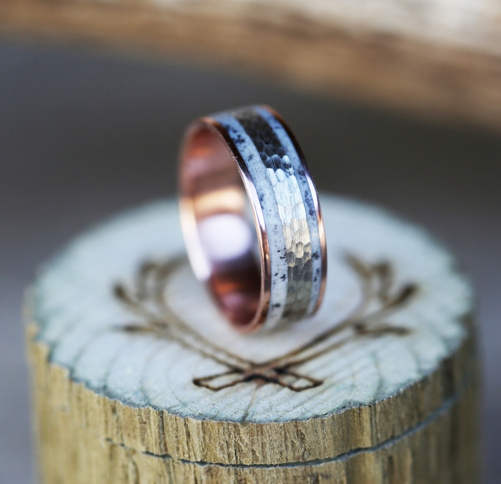 products wood wedding band Men s rose gold wedding band with hammered white gold and elk antler inlay