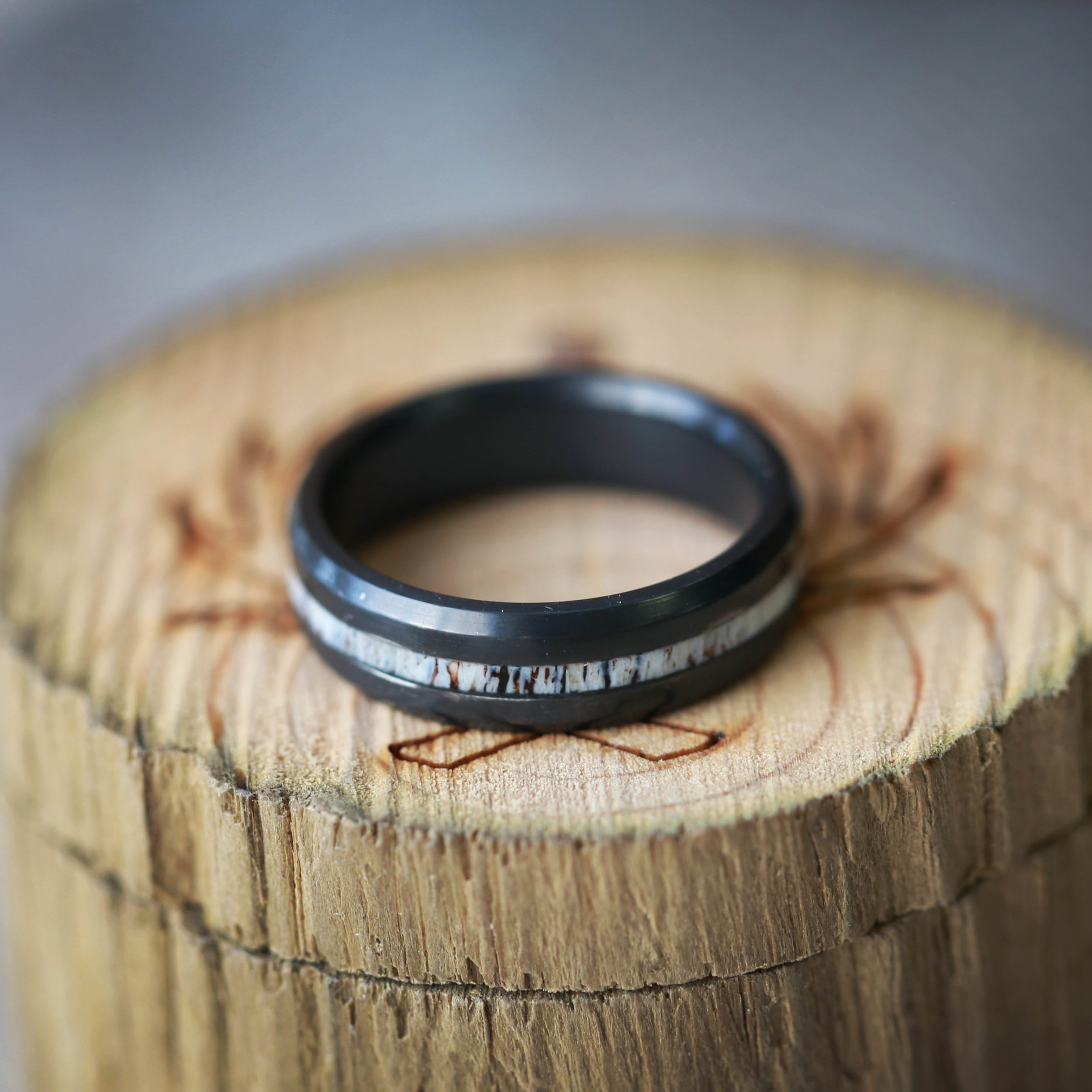 woodandantlerringscontinued antler wedding band ant channel blackz FIRE TREATED BLACK ZIRCONIUM ELK ANTLER WEDDING BAND from 00