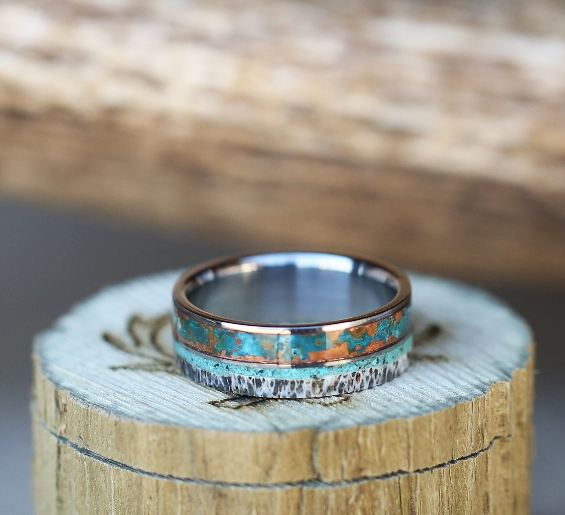 stagheaddesigns antler wedding band CLICK HERE TO VIEW OUR PATINA COPPER WEDDING BANDS