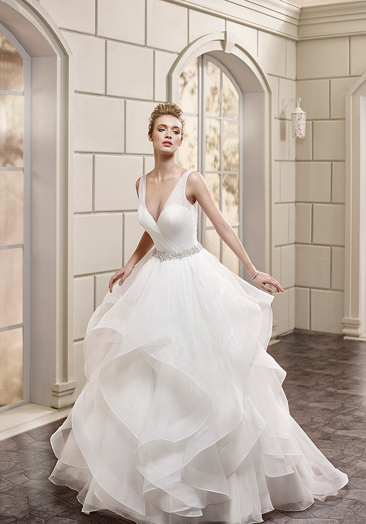 plunging neckline bridal gown plunging neckline wedding dress From Eddy K s Milano Collection style AK is a sexy yet