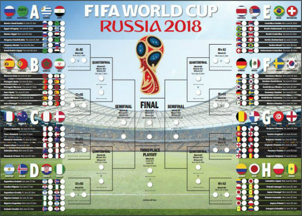 Russia 2018 Fifa World Cup fixtures  printable wall chart   Stuff co nz Click on the image above to enlarge and open as a printable PDF
